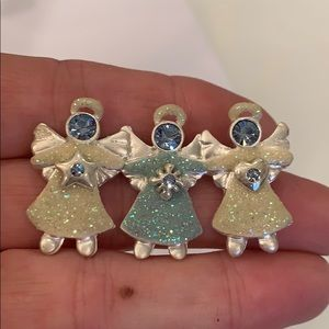 Triple angels with halos star heart crystal pin
